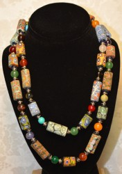 long Trade Bead with Mixed Stone Necklace