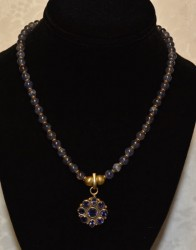 Iolite with Gold Plate Pendant