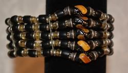 5 Line Black Coral with Amber Bracelet