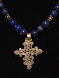 Lapis with Ethiopian Cross Detail