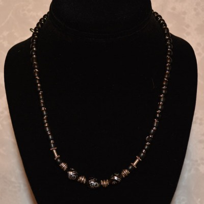3 Bead Black Coral Necklace