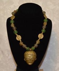 Green Gashi Bead  with Mask