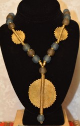 Long Gashi Bead and Lost Wax Medallion Necklace