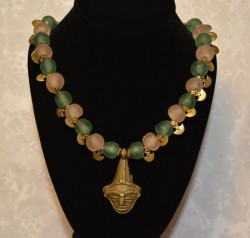 Gashi Bead Necklace with Mask and Hanging Brass Anchors