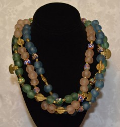 3 Strand Gashi Bead Necklace with Hanging Anchors