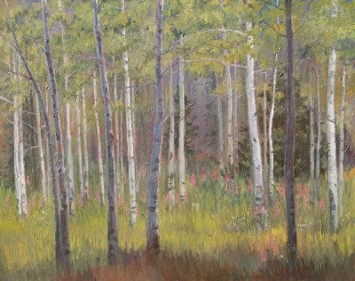 aspens in afternoon shadow 50x40
