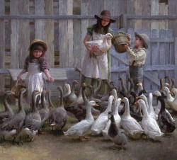 M. Weistling Feeding the Geese at Gallery 601