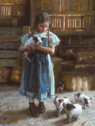 Olivia and her new friends on the farm.