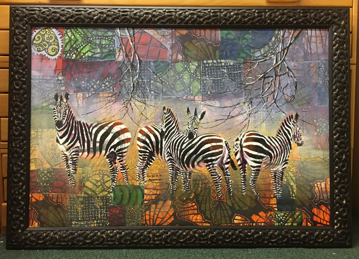 zebra Patchwork framed